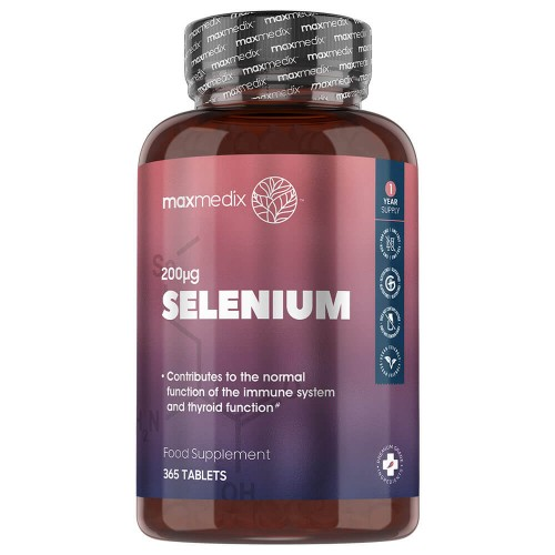 Selenium Tablets - 200mcg 365 Tablets - 1 Year Supply - Ideal for Hair and Nails - Maxmedix